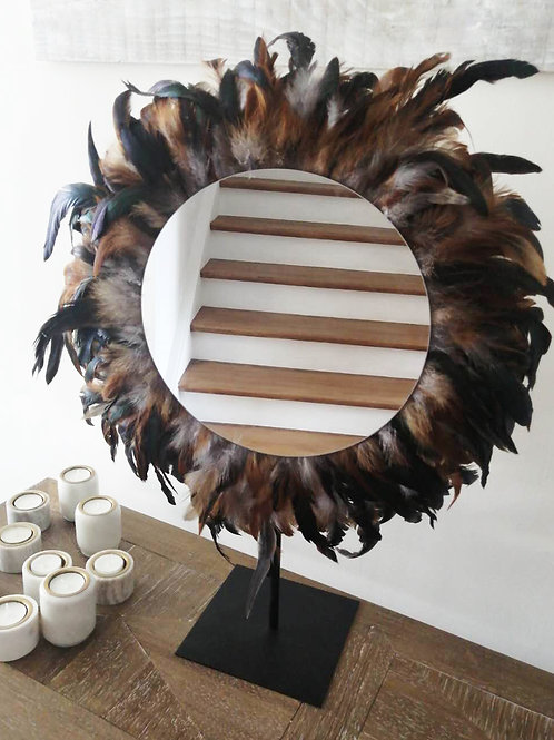 Grand juju hat mural marron plumes naturelles 60 cm et grand miroir