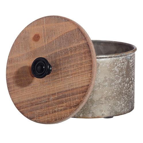 Boîte coffret rond en bois et zinc