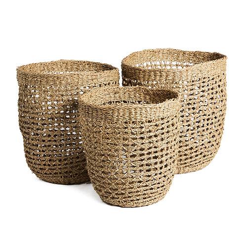 Set de 3 paniers cylindriques en bambou naturel
