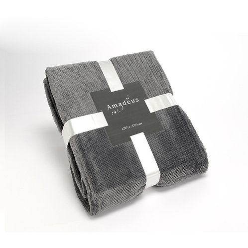 Plaid pilou gris 130x170 cm
