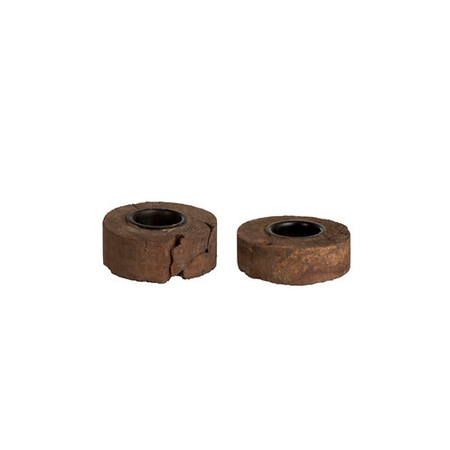 Photophore creusé bois recyclé