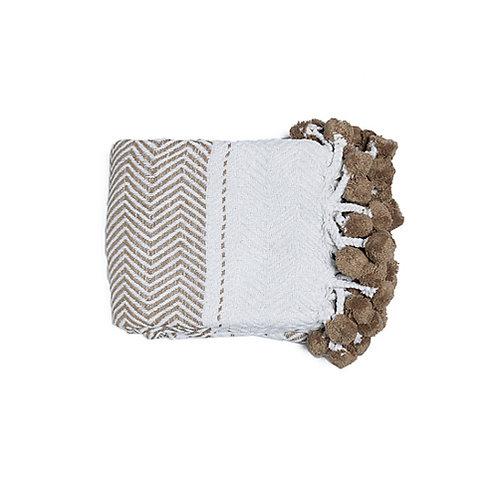 Plaid blanc/taupe motifs en coton à pompons 130x170 cm