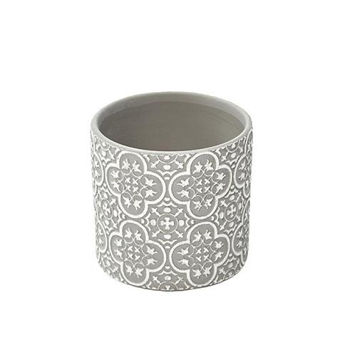 Cache-pot en céramique gris clair et blanc