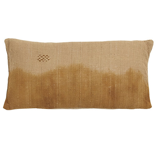 Coussin 100% coton Tie & Dye ocre 30x60 cm