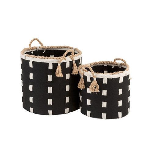 Set de 2 paniers cylindriques à anses noirs et écrus