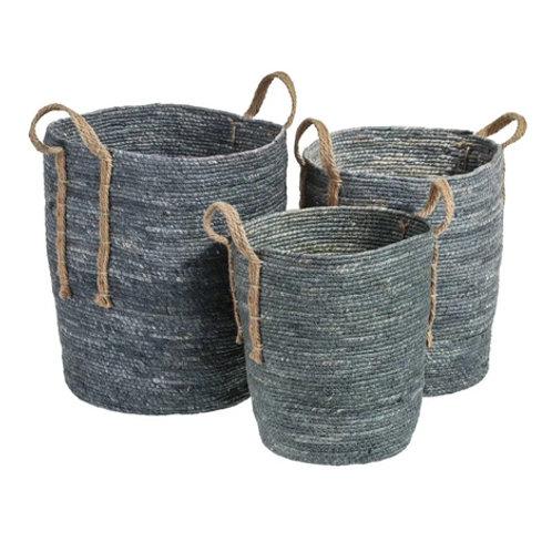 Set de 3 paniers cylindriques hauts bleu à anse en fibres naturelles