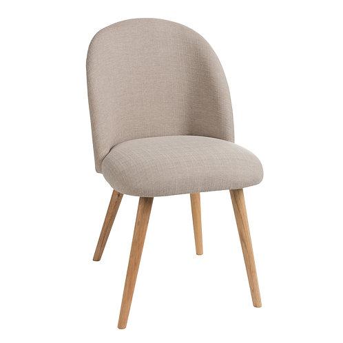Chaise en tissu beige et pieds en bois