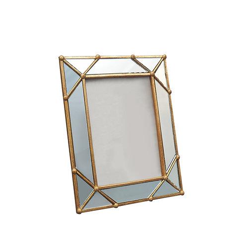 Cadre photo doré aux contours miroir