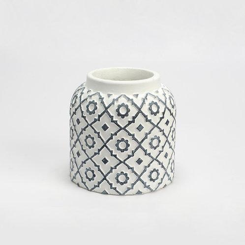 Petit vase en ciment motifs noirs & blancs