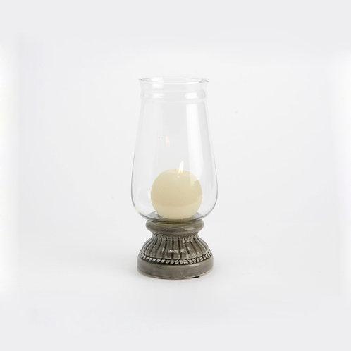 Photophore taupe en céramique et verre