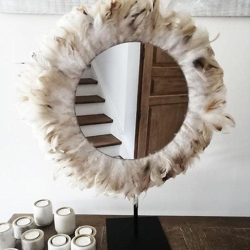 Grand juju hat mural beige plumes naturelles 60 cm et grand miroir