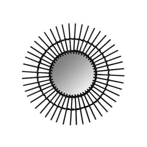 Miroir rond soleil en bambou noir