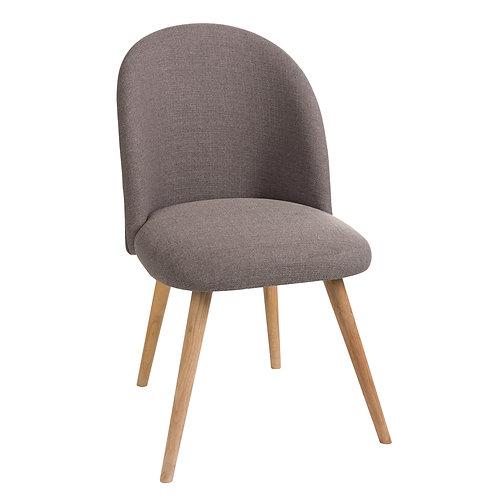 Chaise en tissu gris et pieds en bois