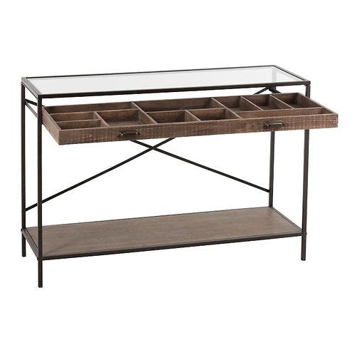 Console 1 tiroir compartimenté en bois et métal, plateau en verre