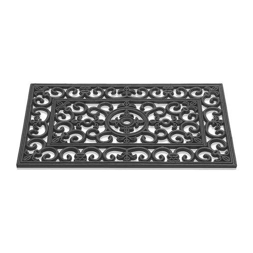 Tapis d'extérieur paillasson en caoutchouc noir 45x75 cm