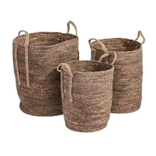 Set de 3 paniers cylindriques hauts à anse en fibres naturelles