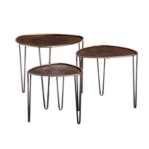 Set de 3 tables gigognes ovales en métal bronze et gris