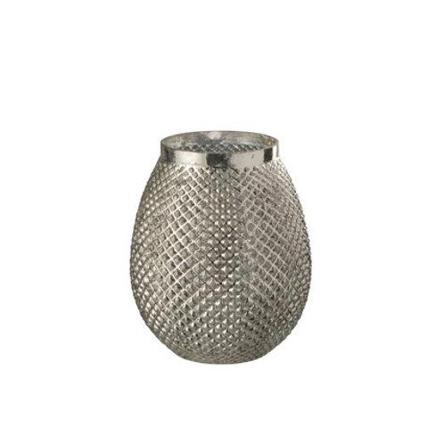 Vase ovale argent en verre martelé