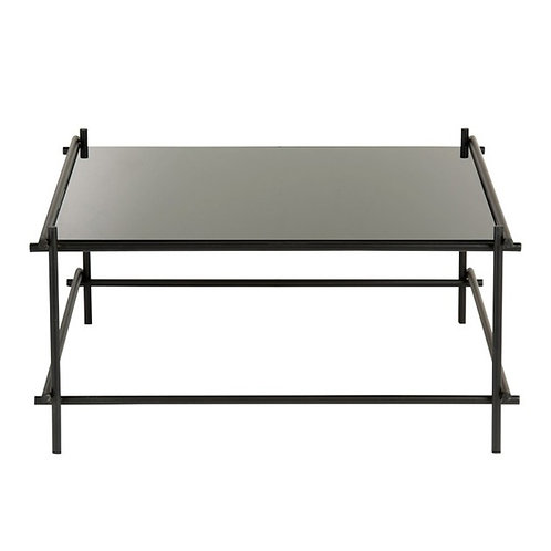 Table basse en verre et métal noir