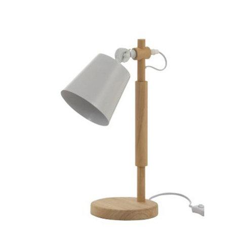 Lampe office sur pied en bois et métal blanc