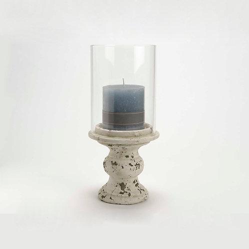 Photophore crème en ciment et verre