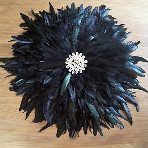Grand juju hat mural noir plumes naturelles et coquillages 60 cm