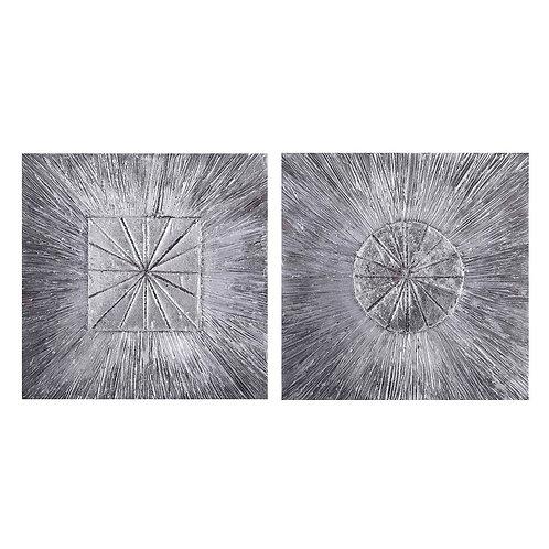2 tableaux de peinture abstraite sur toile 40x40 cm