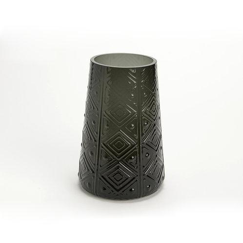Vase haut noir en verre aux motifs gravés