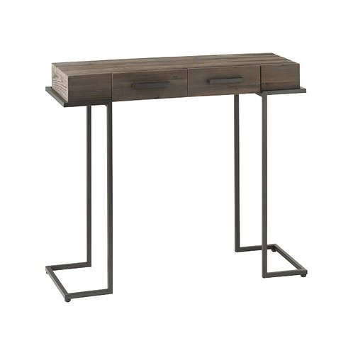 Console 2 tiroirs en métal noir et bois
