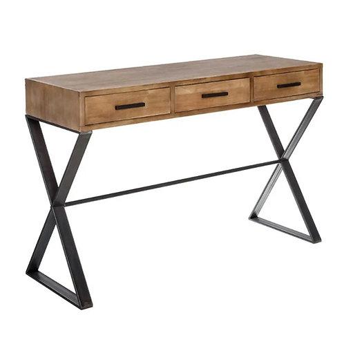 Console 3 tiroirs en bois et pieds métalliques