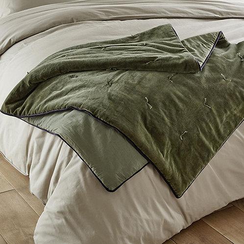 Édredon lit ou canapé moelleux en velours vert olive 85 x 190 cm
