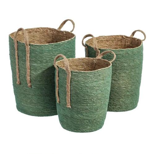 Set de 3 paniers cylindriques hauts vert à anse en fibres naturelles