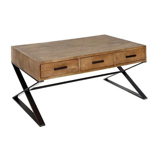 Table basse tiroirs en bois et pieds métalliques