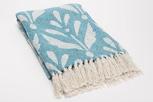 Plaid bicolore bleu ciel 100% coton à motifs 130x170 cm