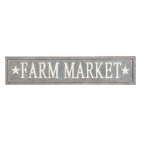 Plaque enseigne murale Farm Market en zinc XXL