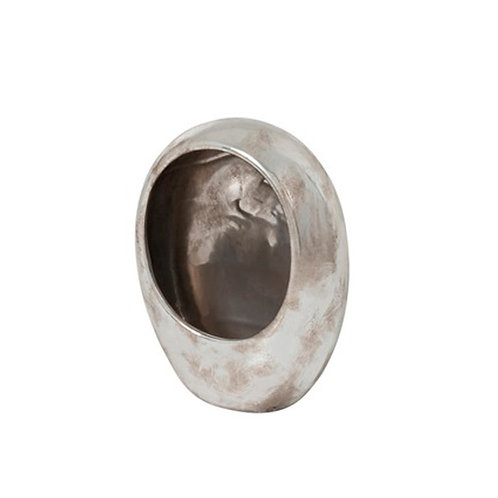 Photophore oeuf taille M en céramique argent