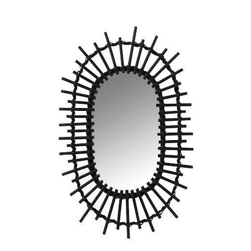 Miroir ovale soleil en bambou noir