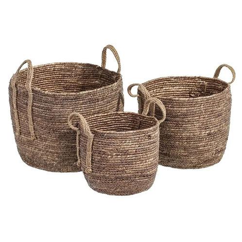 Set de 3 paniers cylindriques à anse en fibres naturelles