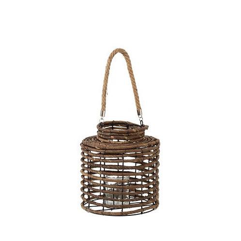 Petite lanterne en roseau naturel avec socle en verre