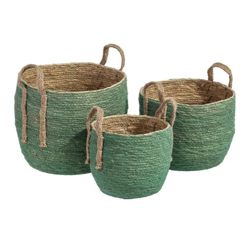 Set de 3 paniers cylindriques à anse vert en fibres naturelles