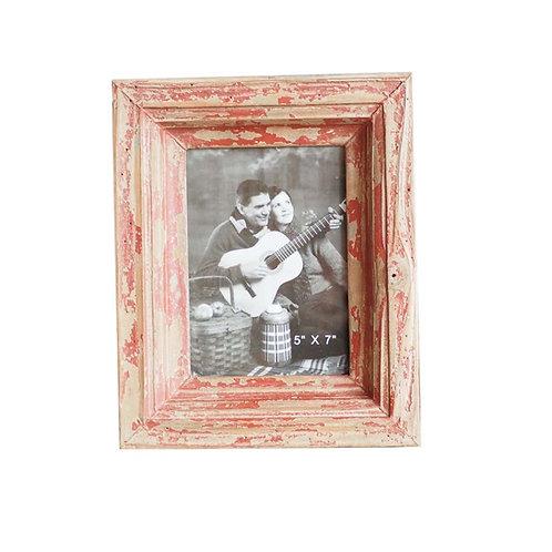 Cadre photo en bois patiné bordeaux 21,5x26,5 cm