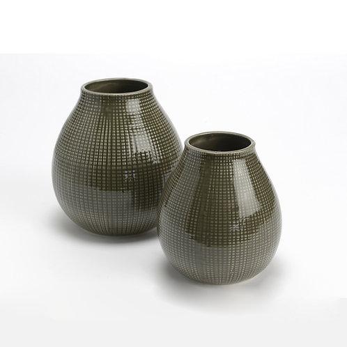 Vase rond en céramique gris vert grand modèle