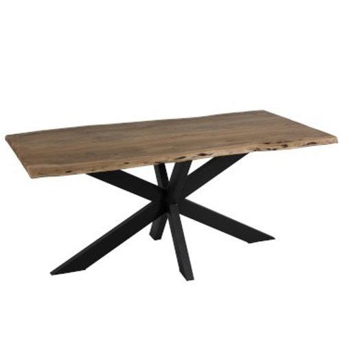 Grande table à manger en orme et métal