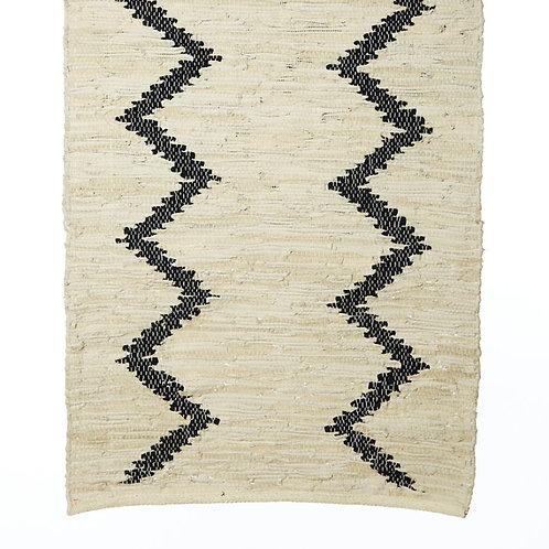 Tapis en coton et cuir à lignes noires 50x80 cm