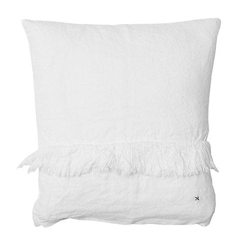 Coussin 100% lin uni blanc 35x35 cm à franges