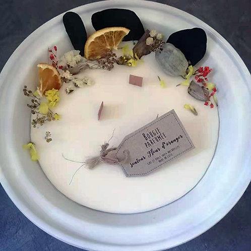 Bougie écologique parfumée fleur d'oranger fleurs séchées pot en terre 500 ml