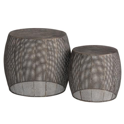 Set de 2 tabourets bout de canapé en métal laiton