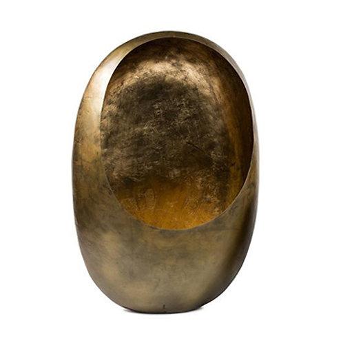 Photophore oeuf taille XL en laiton or et doré à la feuille d'or