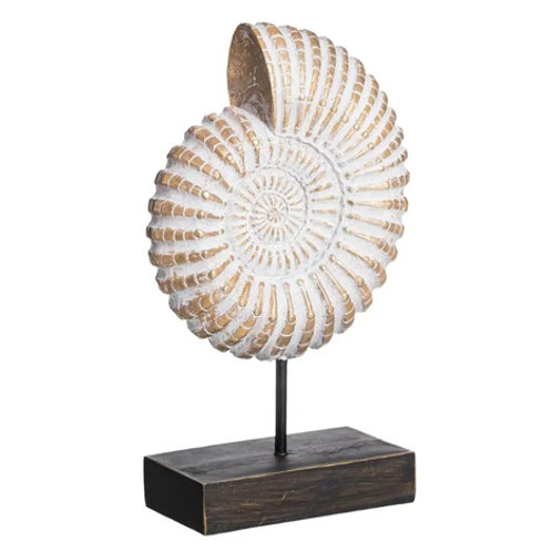 Sculpture coquillage en résine blanche et or