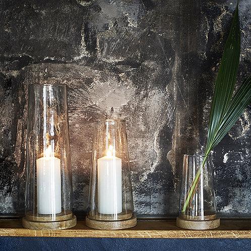 Photophore bougeoir en verre et socle en bois de manguier  - 2 tailles